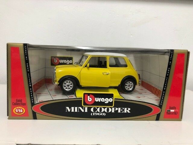 NEW Bburago 1 16 gold Collection Mini Cooper 1960 Yellow + White Roof Car Model