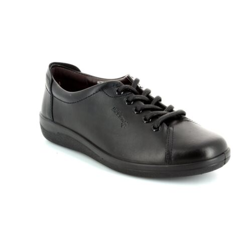 Padders GALAXY Womens Soft Black Leather Wide E Fit Office Comfort Lace Up Shoes