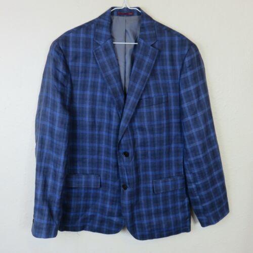 Johnston & Murphy Linen Blue Plaid Suit Sport Coat