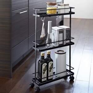 Dettagli su Yamazaki Carrello da Cucina con Rulli Mensola Metallo 3 Piani  Nero