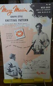 Vtg-Mary-Maxim-knitting-pattern-407-Wild-Duck-graph-mens-cardigan-sz-38-44