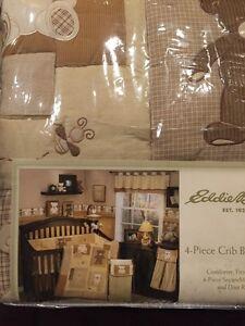 Eddie Bauer Teddy Bear 4pc Crib Bedding Set Bumper Neutral Brown Tan