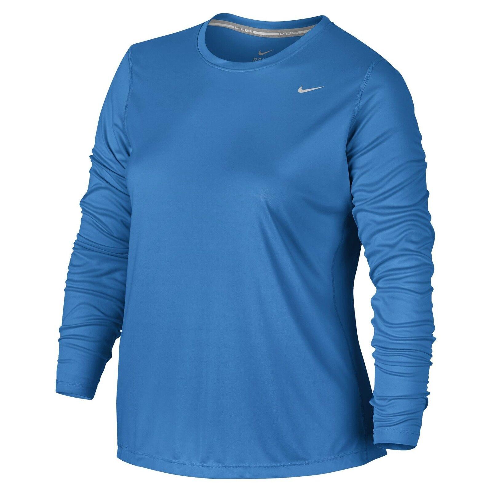 455fb099a03 Nike sz 1X Women's DRY MILER LONG SLEEVE Running Top Shirt NEW 747057 436  Blue