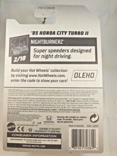 2019 Hot Wheels #81 Nightburnerz 2//10 /'85 HONDA CITY TURBO II Blue w//Gold AD Sp