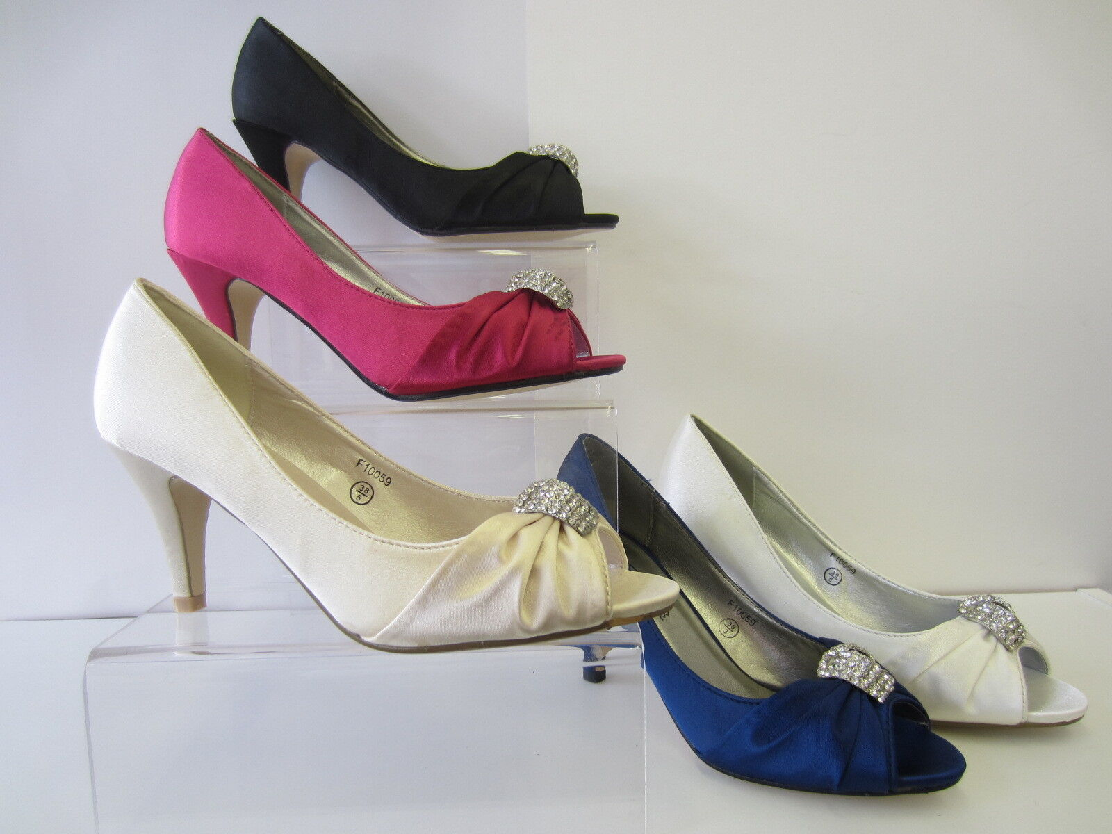 Ladies Spot On BRIDAL Peep Toe - Shoes UK Sizes 3 - Toe 8 F10059 1f3ab6