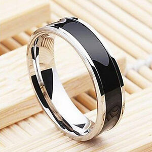 Fashion-Jewelry-Black-Titanium-Stainless-Steel-Band-Ring-For-Men-Women-Size-6-12