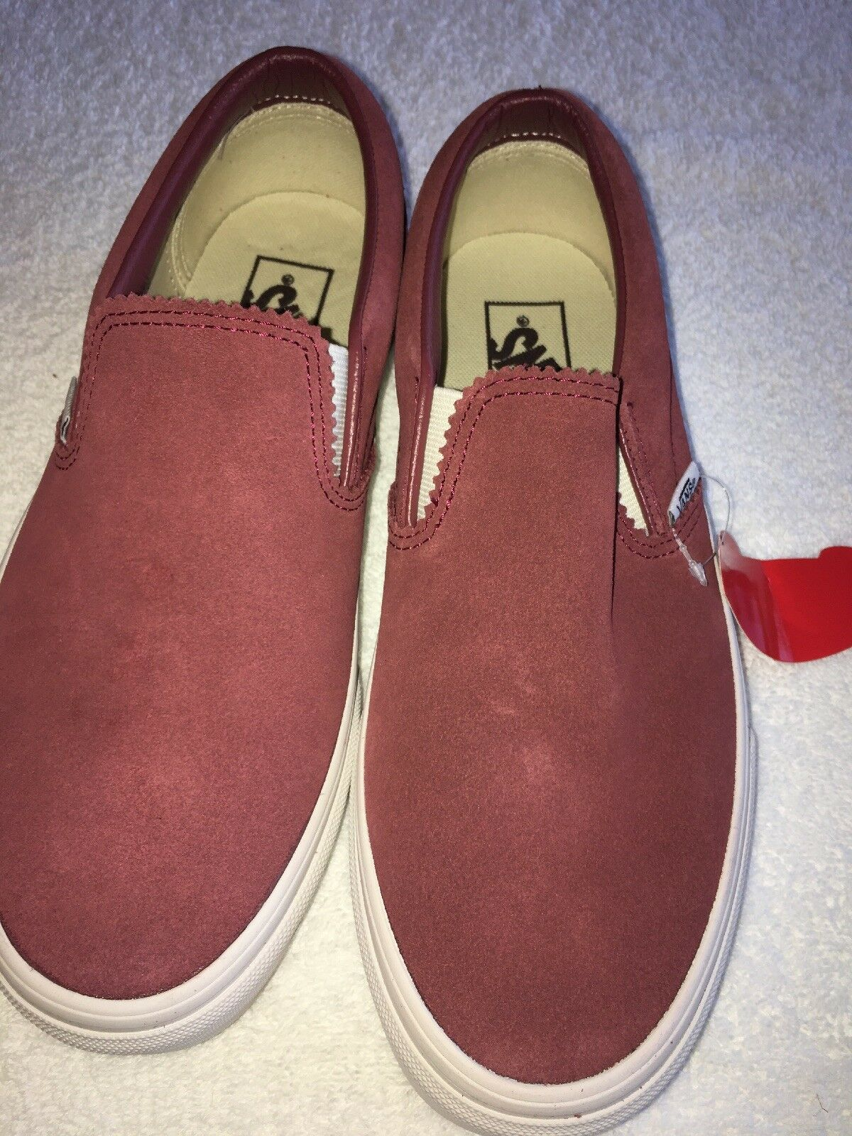 Vans Off The Wall Slip On Pink Red Suede Design Men's Size 6.5 Women's Size 8