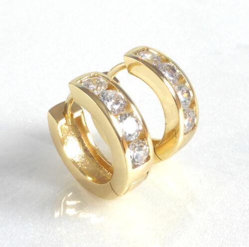 Huggie Hoop Earrings 16mm CZ Cubic Zirconia 14K Yellow Gold Plated UK