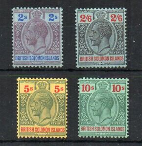 British-Solomon-Islands-1914-2s-2s-6d-5s-and-10s-MLH-MH