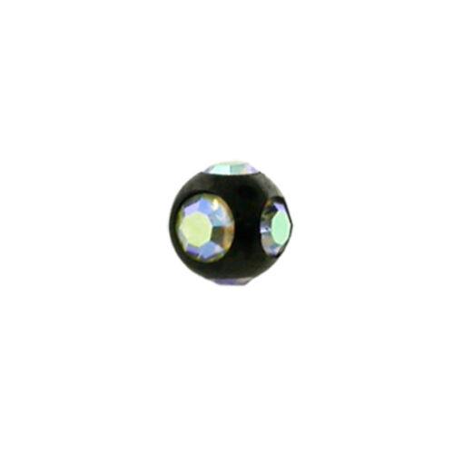 Kugeln Kristalle Schwarz 1,2 mm Ø Augenbrauenpiercing Curved Barbell Banane