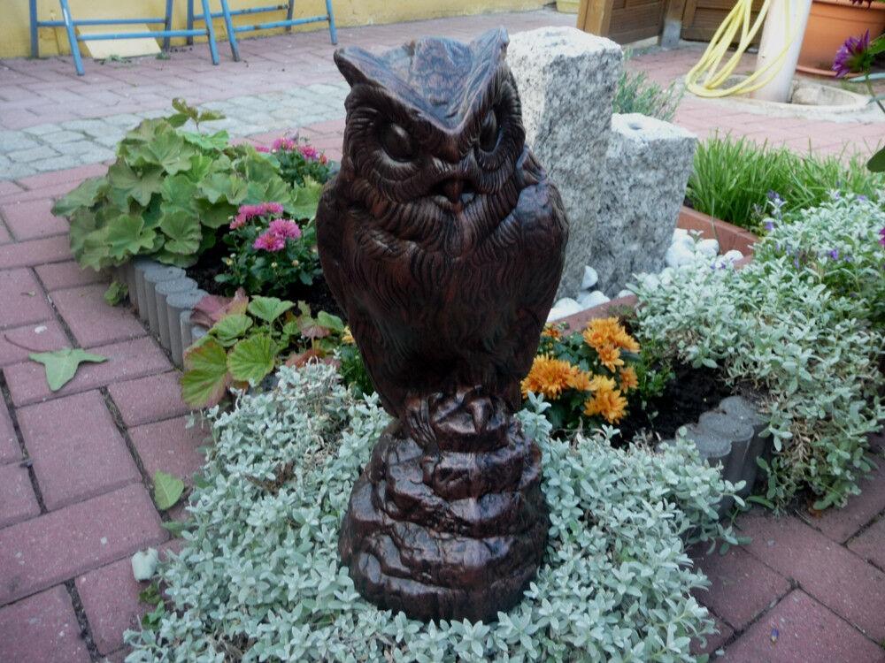 Steinfigur Tierfigur Eule schwarz Kupfer patiniert Deko Garten