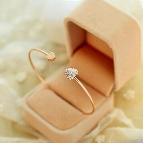 High quality heart bracelet crystal love opening gold plated bracelet.