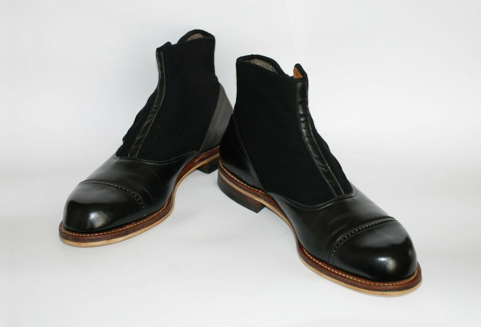 STUNNING PAIR OF ORIGINAL 1930S BLACK LEATHER AND… - image 1