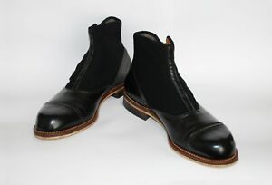 STUNNING-PAIR-OF-ORIGINAL-1930S-BLACK-LEATHER-AND-FELT-BUTTON-SNAP-SHOES-BOOTS