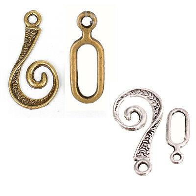 Antique Silver/Bronze 100sets Stone Snail Shape Findings Toggle Clasps