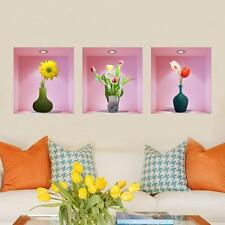 3D Flower Vase Wall Sticker Home Decal Living Room Mural Decoration Removable SY