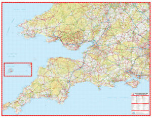 A Z Map Of England.Details About South West England South Wales Road Map By A Z Maps Wall Map Paper 2019