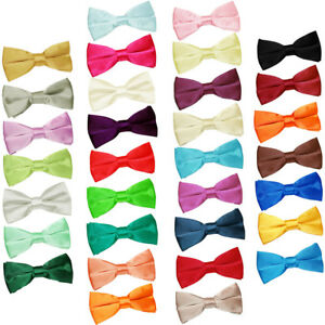 Premium-Satin-Solid-Plain-Dickie-Business-reglable-Pre-Tied-Hommes-Bow-Tie