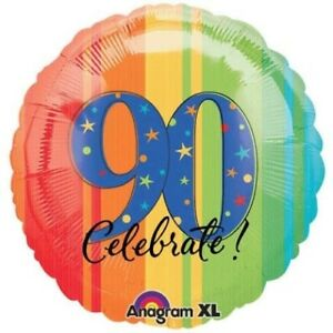 """17/"""" Celebrate 90th Birthday Mylar Foil Balloon Party Decorating Supplies"""