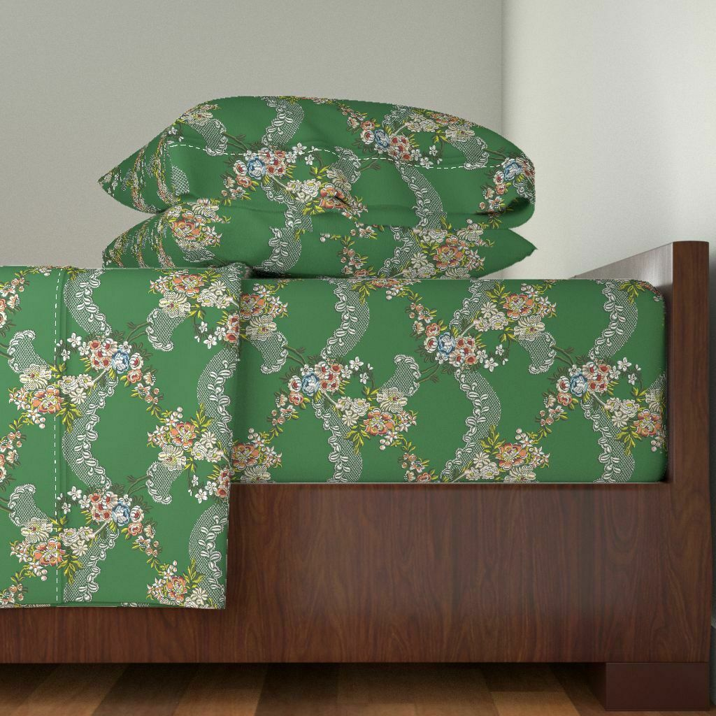 Rococo Historical Lace Georgian verde 100% Cotton Sateen Sheet Set by Roostery