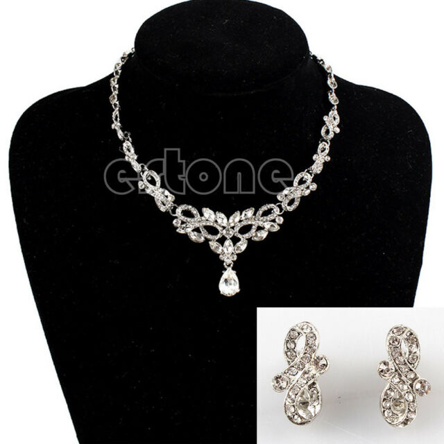 Fashion Prom Wedding Bridal Jewelry Crystal Rhinestone Necklace Earring Sets