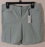 NWT Tommy Hilfiger Reade Fit Womens Bermuda Shorts 14 White/Green Stripe MSRP$60