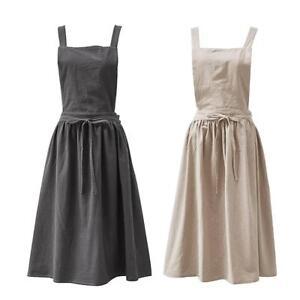 441cf5abca Image is loading Cotton-Linen-Sleeveless-Women-Bib-Apron-Pinafore-Dress-