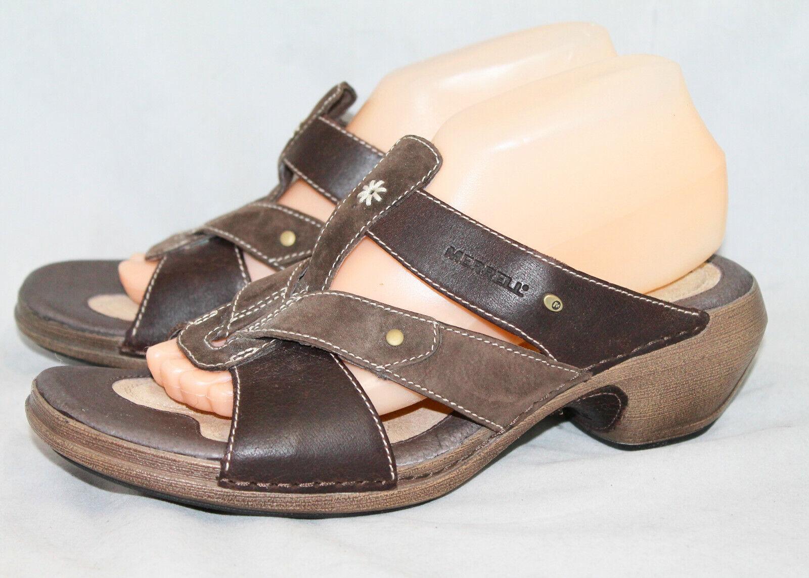 MERRELL Luxe Slide Sandals J89396 Wo's 9 Coffee Brown Leather Medium Heel