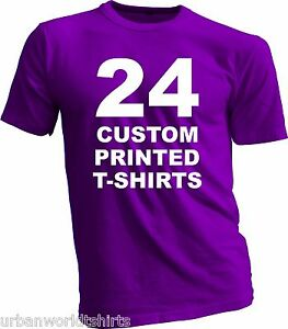 24 custom printed t shirts screen print 2 colors on for Custom photo t shirts front and back