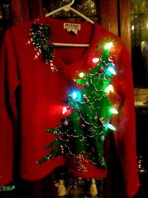 Ugly Christmas Tree.Jack B Quick S M P Fab Ugly Christmas Tree Sweater Lights Sequins Ebay
