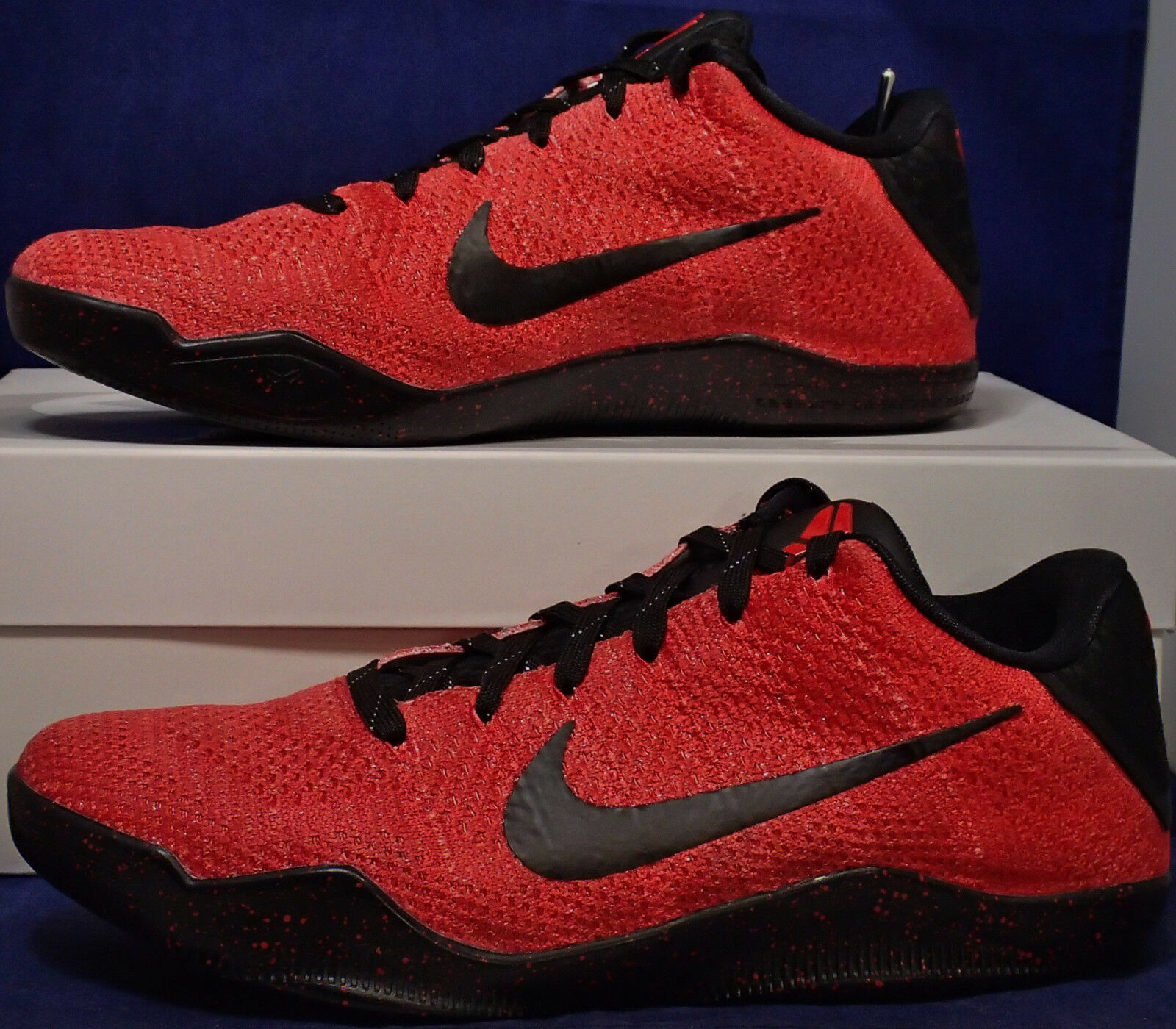 Nike Kobe XI 11 Elite Low Flyknit iD Red Black SZ 7.5 ( 835649-994 )