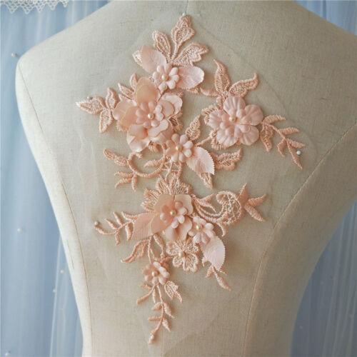 Vestido de encaje motivo de boda con Cable bordado con cuentas ribete de novia de bricolaje Apliques 1 PC