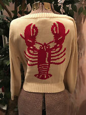 Betsey Johnson Large Cardigan Lobster Sweater L Red Ivory