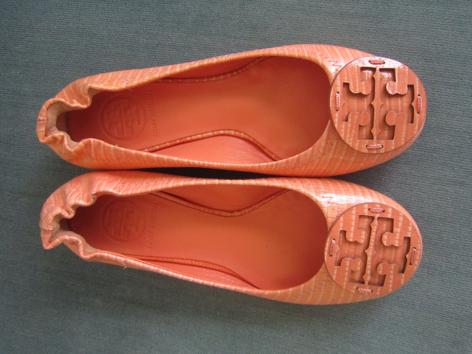 Tory Burch Reva orange Ballet Ballet Ballet Flats Leather Size 4.5M New 2c4f14