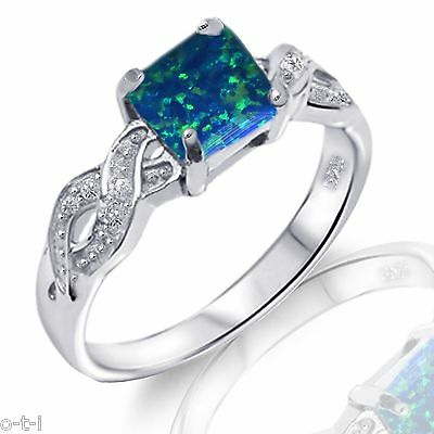Infinity Celtic Princess Cut Dark Blue Fire Opal Genuine Sterling Silver Ring