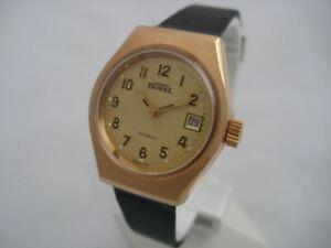 NOS-NEW-VINTAGE-SWISS-WATER-RESIST-GOLD-PL-DATE-ERNEST-BOREL-WOMEN-039-S-WATCH-1960