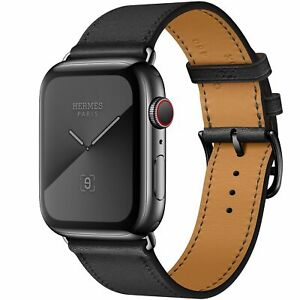 Apple Watch Series 5 Hermes 44mm Space Black Stainless W Noir Leather Band New Ebay