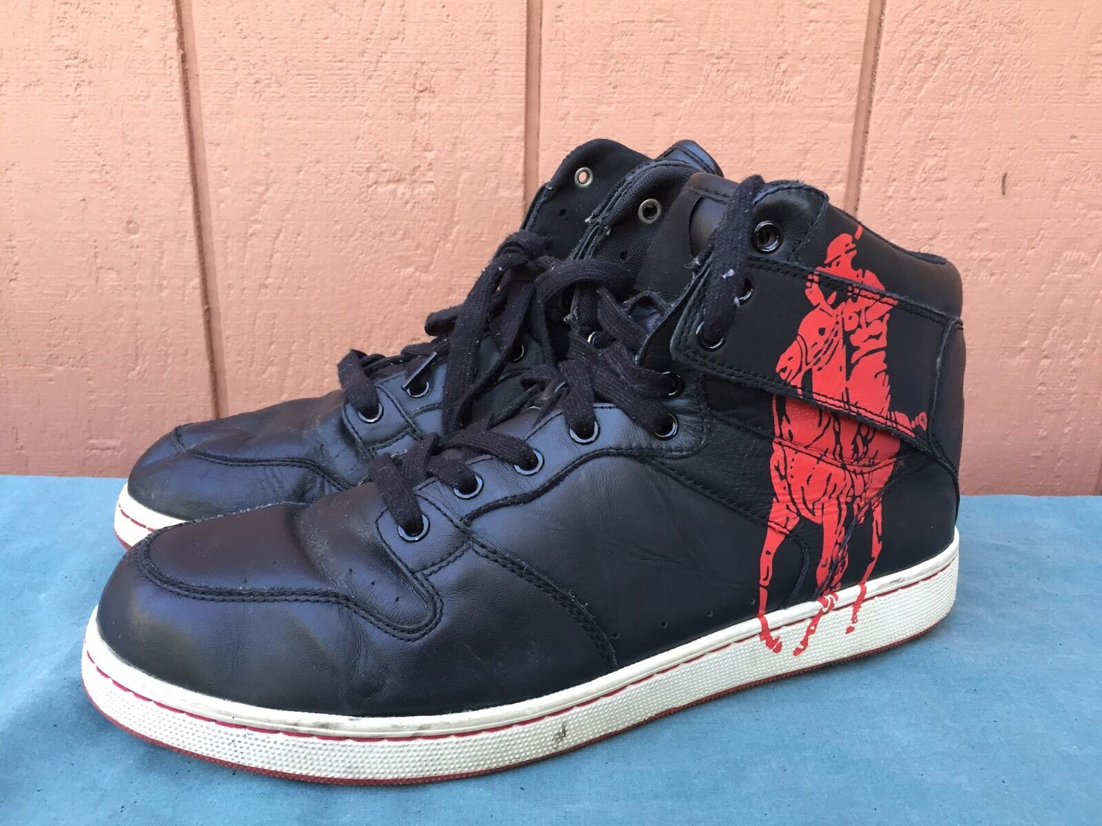 POLO RL Men's VANCE Soft Black Leather High Top Sneakers US Sz 13 D