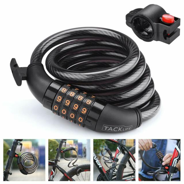 Bike Lock 6-Feet Heavy Duty Bike lock Cable Self Coiling Resettable Combination