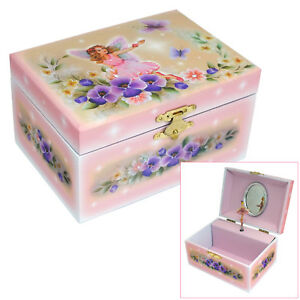 GIRLS PINK FAIRY & BUTTERFLY MUSICAL JEWELLERY & TRINKET BOX SPINNING BALLERINA