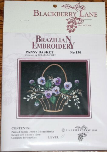 Blackberry Lane//EdMar//Delma Moore Pansy Basket Brazilian embroidery #130