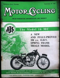 MOTOR CYCLING MAGAZINE 29 SEP 1955 - A.J.S. - THE MODEL 16 MC