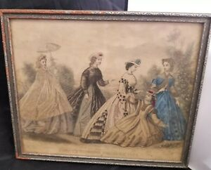 Antique-Godey-039-s-Fashions-For-June-1864-Lithograph-Victorian-Framed-Colored