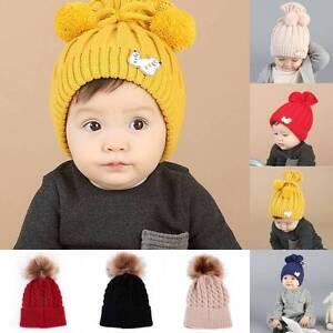 Baby-Boy-Girl-Kids-Winter-Warm-Hat-Fur-Pom-Bobble-Knit-Crochet-Beanie-Cap