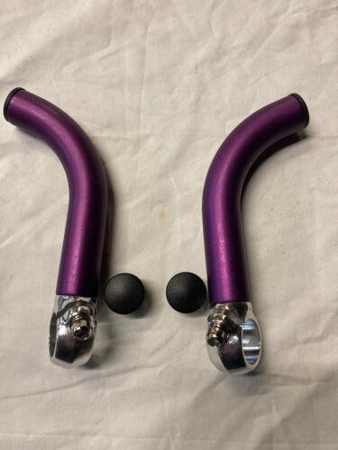 Pair Retro Alloy Purple Ski Cycle Bar Ends