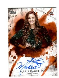 WWE-Maria-Kanellis-2018-Topps-Undisputed-Orange-On-Card-Autograph-SN-36-of-99