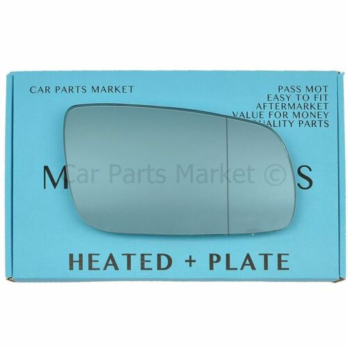 For Skoda Superb 01-06 Right Aspheric Electric Blue wing mirror glass w// plate