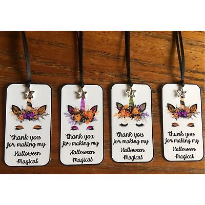 Halloween 12 Unicorn party tags with shiny silver metal star and black silk ribb