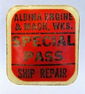 WWII ALPINA ENGINE MACH. WKS. Ship Repair PORTLAND Oregon badge pin home front