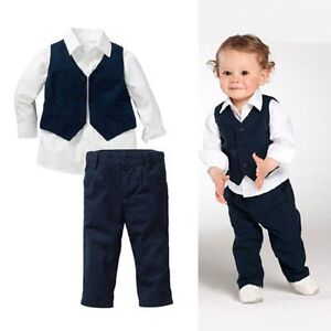 Details About Baby Kids Boy Wedding Party Formal Shirt Waistcoat Pants Suit Outfits Set 12m 5y